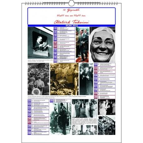 12 Yapraklı Atatürk Duvar Takvimi